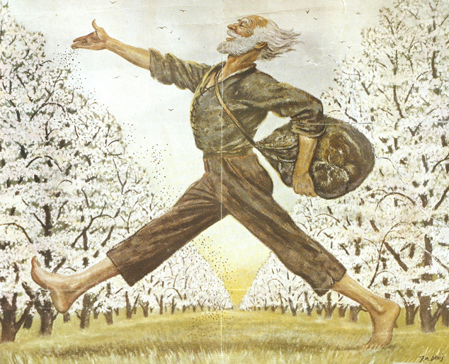 An illustration in The Saturday Evening Post showing American folk hero Johnny Appleseed is part of the collection at the Johnny Appleseed Educational Center and Museum at Urbana University in Ubana, Ohio on Friday, July 18, 2014. An anonymous donation is allowing the museum to create a traveling exhibit to clear up misconceptions and tell the story of the man behind the legend. (AP Photo/Mike Munden)