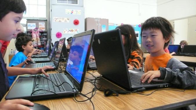 Kids playing minecraft