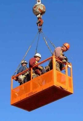 crane suspended man baskets